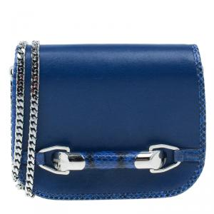 Jimmy Choo Blue Leather Snake Skin Trim Zadie Crossbody Bag