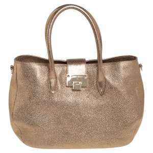 Jimmy Choo Metallic Gold Textured Leather Rania Tote