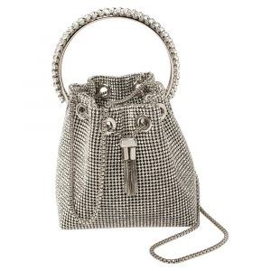 Jimmy Choo Silver Satin Crystal Mesh Bon Bon Bucket Bag
