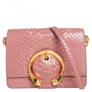 Jimmy Choo Pink Python Leather Madeline Shoulder Bag