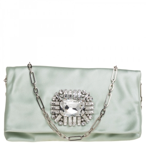 Jimmy Choo Mint Green Satin Titania Crystal Embellished Clutch