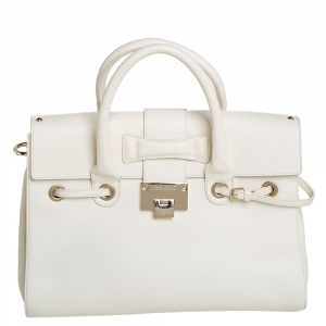 Jimmy Choo Cream Leather Rosalie Satchel