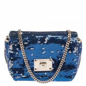 Jimmy Choo Blue/Silver Sequins Ruby Chain Shoulder Bag