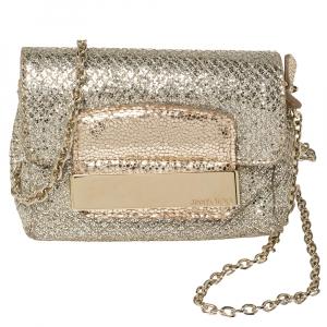 Jimmy Choo Champagne Gold Glitter Caro Chain Bag