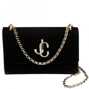 Jimmy Choo Black Velvet Bohemia Wallet on Chain