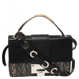 Jimmy Choo Silver/Black Leather Studded Rebel Flap Crossbody Bag