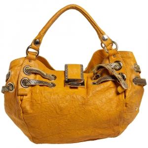 Jimmy Choo Mustard Textured Leather and Snakeskin Ramona Shoulder Bag