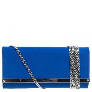 حقيبة كلتش  جيمي تشو أكسكلوزيف ميلا ستان أزرق بسلسلة