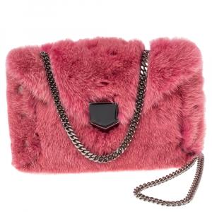 Jimmy Choo Pink Mink Fur Lockett Chain Clutch
