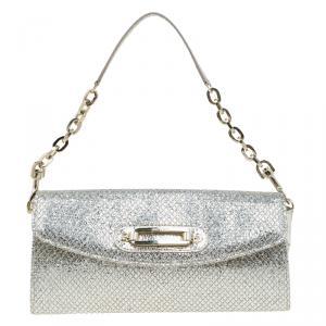 Jimmy Choo Gold Glitter Leather Clutch Bag