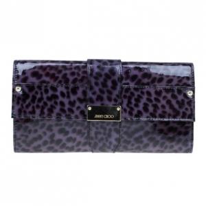 Jimmy Choo Purple Leopard Print Patent Animal Uma Clutch