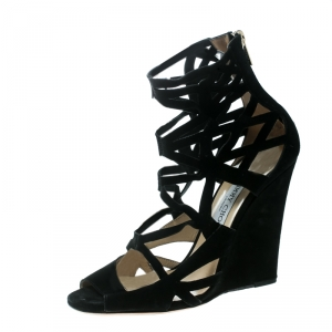 Jimmy Choo Black Suede Laser Cut Cage Wedge Sandals Size 39 - used