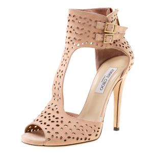 Jimmy Choo Peach Pink Laser Cut Suede Peep Toe Sandals Size 39.5 - used