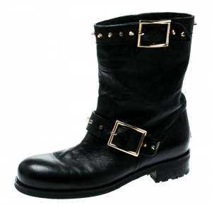 Jimmy Choo Black Leather Youth Buckle Studded Ankle Boots Size 36.5 - used