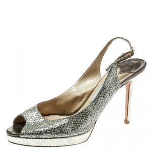 Jimmy Choo Metallic Gold Glitter Fabric Clue Peep Toe Platform Slingback Sandals Size 40.5 - used