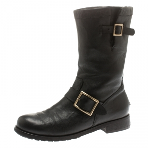 Jimmy Choo Black Leather Youth Biker Mid Calf Boots Size 37.5 - used