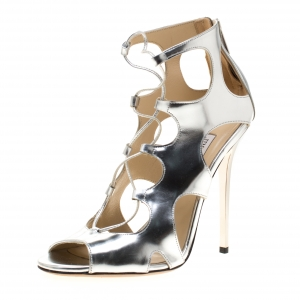 Jimmy Choo Metallic Silver Leather Cutout Lace Up Sandals Size 37 - used