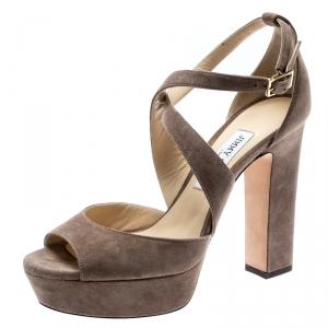 Jimmy Choo Beige Suede April Cross Strap Platform Block Heel Sandals Size 39 - used