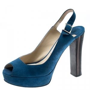 Jimmy Choo Blue Suede Lexy Platform Slingback Sandals Size 37.5 - used