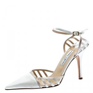 Jimmy Choo White Satin Pointed Toe Slingback Sandals 38 - used