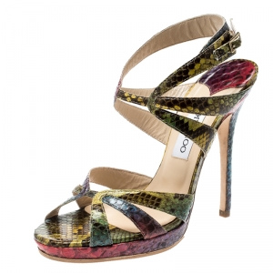 Jimmy Choo Multicolor Python Ankle Straps Open Toe Sandals Size 39 - used