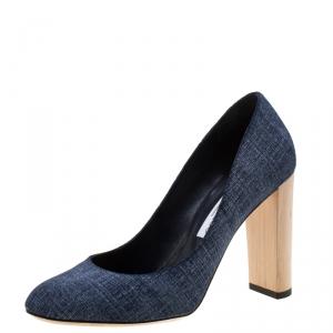 حذاء كعب عالي جيمي تشو لاريا كعب سميك دنيم أزرق مقاس 40