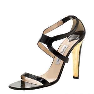 Jimmy Choo Black Patent Leather Open Toe Sandals Size 38.5 - used