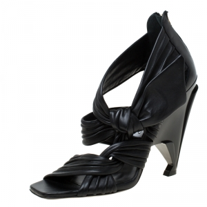 Jimmy Choo Black Pleated Leather Kyle Knotted Sandals Size 39 - used