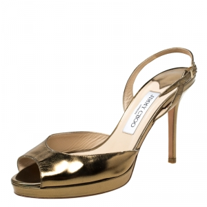 Jimmy Choo Gold Patent Leather Peep toe Slingback Sandals Size 38 - used