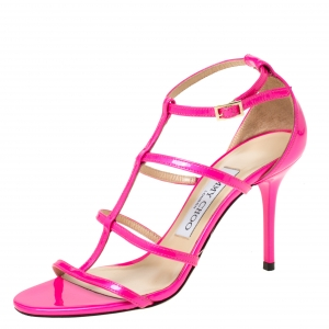 Jimmy Choo Neon Pink Patent Leather Thistle Open Toe Sandals Size 35 - used