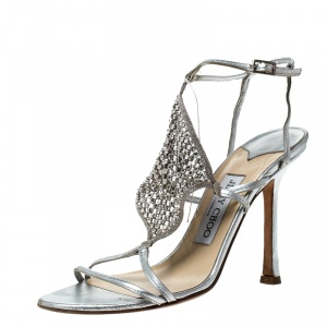 Jimmy Choo Metallic Silver Leather Embellished Ankle Strap Sandals Size 37 - used