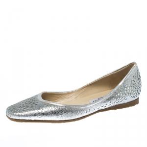 Jimmy Choo Metallic Silver Glitter Lazer Cut Leather Ballet Flats Size 39.5 - used
