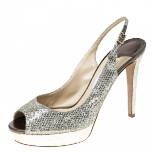 Jimmy Choo Metallic Gold Glitter Verity Peep Toe Slingback Platform Sandals Size 41 - used