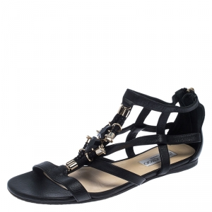 Jimmy Choo Black Crystal Embellished Leather Caged Flat Sandals Size 38 - used