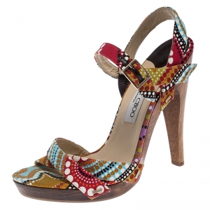 Jimmy Choo Multicolor Canvas Strappy Platform Sandals Size 40 - used