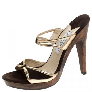 Jimmy Choo Dark Brown/Gold Suede and Leather Wooden Platform Slides Sandals Size 40 - used