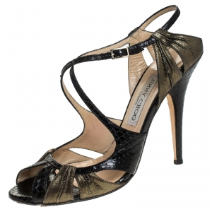 Jimmy Choo Black Python Leather And Glitter Suede Strappy Sandals Size 38 - used