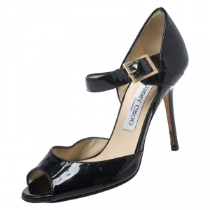 Jimmy Choo Black Patent Leather Peep Toe Ankle Strap Sandals Size 36 - used