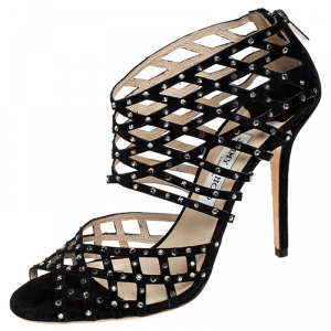 Jimmy Choo Black Suede Crystal Embellished Cut Out Strappy Sandals Size 40.5