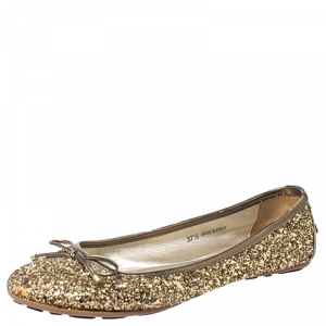 Jimmy Choo Gold Coarse Glitter Fabric Walsh Bow Ballet Flats Size 37.5 - used