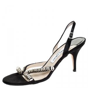 Jimmy Choo Black Satin Crystal Embellished Slingback Open Toe Sandals Size 38 - used