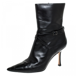 Jimmy Choo Black Leather Arena Pointed Toe Ankle Boots Size 40 - used