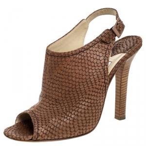 Jimmy Choo Brown Snakeskin Embossed Leather Peep Toe Slingback Sandals Size 40.5 - used
