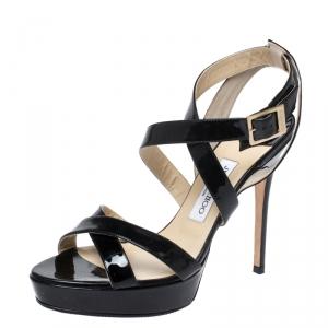 Jimmy Choo Black Patent Leather Vamp Platform Sandals Size 40 - used