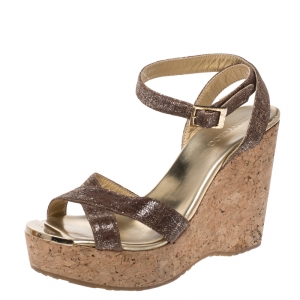 Jimmy Choo Gold/Brown Shimmer Lame Fabric Papyrus Cork Wedge Ankle Strap Sandals Size 37.5 - used