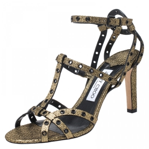 Jimmy Choo Metallic Gold Cracked Leather Beverly 105 Eyelet Strappy Sandals Size 38 - used