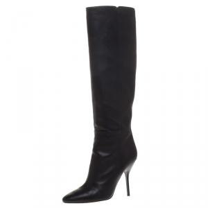 Jimmy Choo Black Leather Drape Knee Length Boots Size 37.5 - used