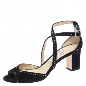 Jimmy Choo Black Suede Carrie 65 Ankle Strap Open Toe Sandals Size 40 - used