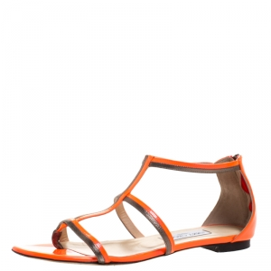 Jimmy Choo Neon Orange Patent Leather Tabitha Caged T Strappy Flat Sandals Size 40 - used