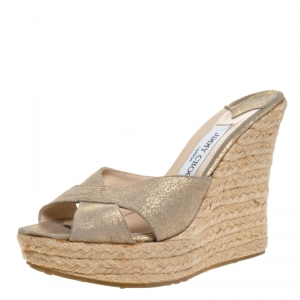 Jimmy Choo Multicolor Glitter Phyllis Cross Strap Espadrille Wedges Sandals Size 38 - used
